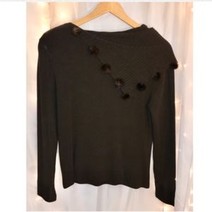 Dark Brown Sweater With Faux Fur Accents